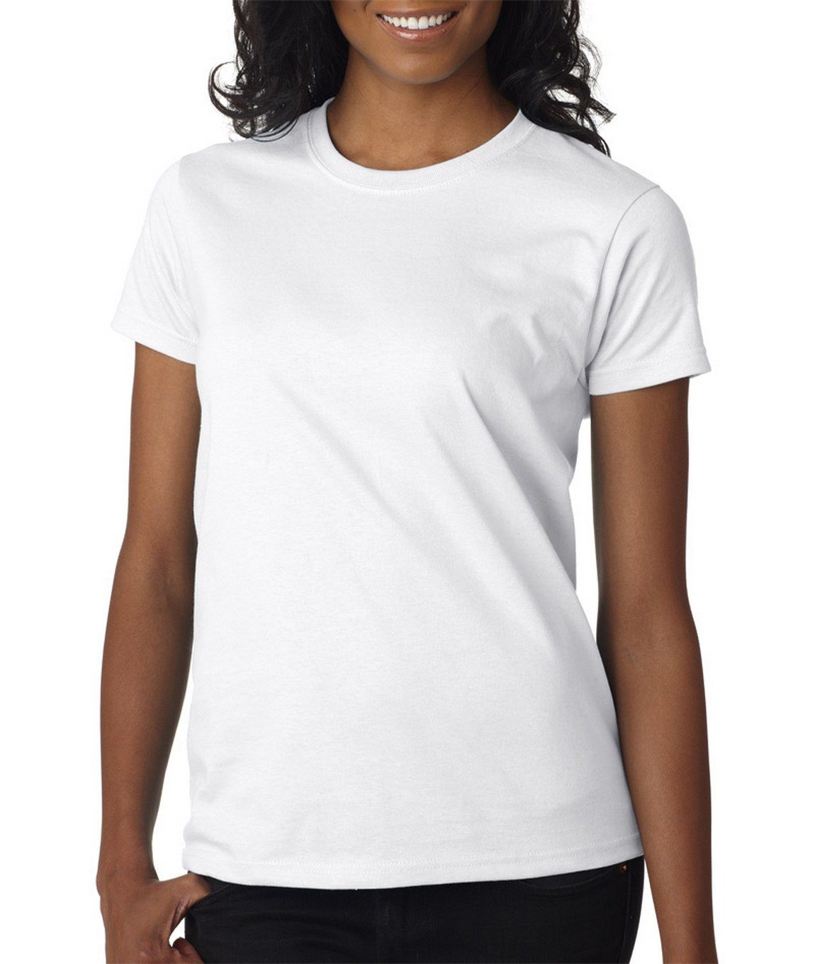 Blank women 39 s white t shirt you customize it for Womens black tee shirt
