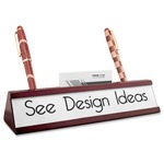 Red Mahogany Nameplates with Business Card Holder