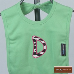 Lime Green Bib with Embroidered Zebra Initial