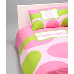 Pink & Green Dots Personalized Duvet