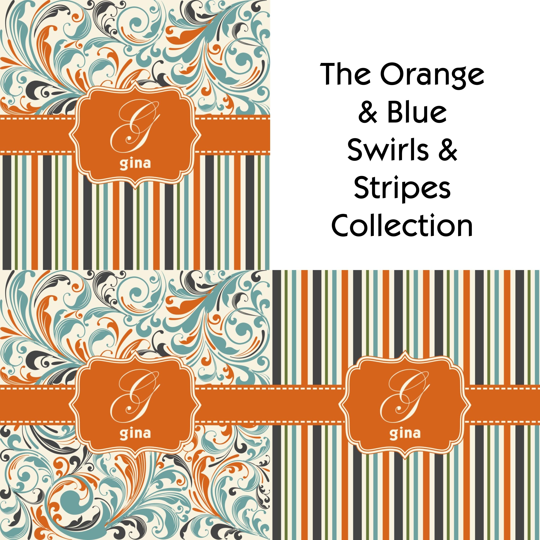 Orange Blue Leafy Swirls Shower Curtain Personalized