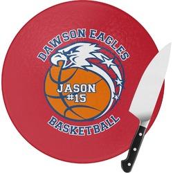 Dawson Basket Ball Round Glass Cutting Board (Personalized)