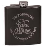 Lake House #2 Black Flask Set (Personalized)