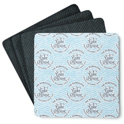 Lake House #2 4 Square Coasters - Rubber Backed (Personalized)