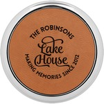 Lake House #2 Leatherette Round Coaster w/ Silver Edge - Single or Set (Personalized)