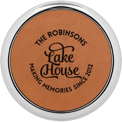 Lake House #2 Leatherette Round Coaster w/ Silver Edge - Single or Set (Personalized)