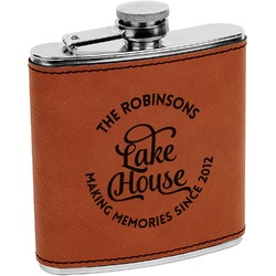 Lake House #2 Leatherette Wrapped Stainless Steel Flask (Personalized)