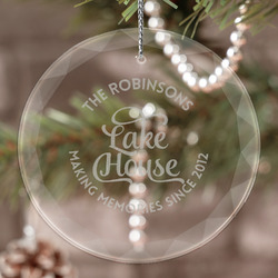 Lake House #2 Engraved Glass Ornament (Personalized)