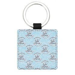 Lake House #2 Genuine Leather Rectangular Keychain (Personalized)
