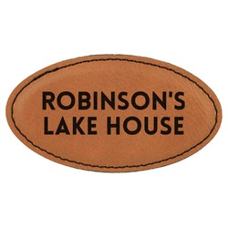 Lake House #2 Leatherette Oval Name Badge with Magnet (Personalized)