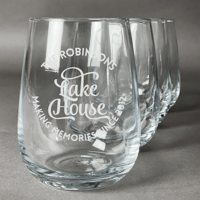 Lake House #2 Stemless Wine Glasses (Set of 4) (Personalized)