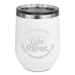 Lake House #2 Stemless Wine Tumbler - 5 Color Choices - Stainless Steel  (Personalized)