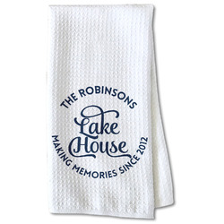 Lake House #2 Waffle Weave Kitchen Towel - Partial Print (Personalized)