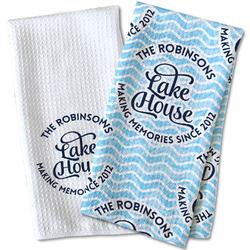 Lake House #2 Waffle Weave Kitchen Towel (Personalized)