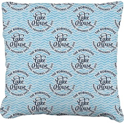 Lake House #2 Faux-Linen Throw Pillow (Personalized)