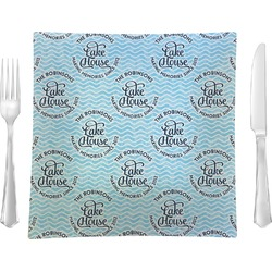 """Lake House #2 Glass Square Lunch / Dinner Plate 9.5"""" - Single or Set of 4 (Personalized)"""