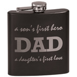 Father's Day Quotes & Sayings Black Flask Set (Personalized)