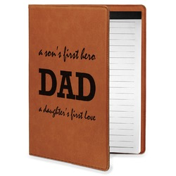 Father's Day Quotes & Sayings Leatherette Portfolio with Notepad - Small - Single Sided (Personalized)