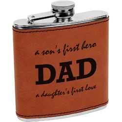 Father's Day Quotes & Sayings Leatherette Wrapped Stainless Steel Flask (Personalized)