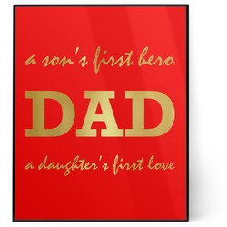Father's Day Quotes & Sayings 8x10 Foil Wall Art - Red (Personalized)