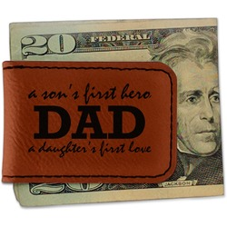 Father's Day Quotes & Sayings Leatherette Magnetic Money Clip (Personalized)