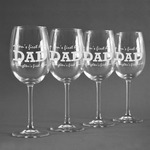 Father's Day Quotes & Sayings Wine Glasses (Set of 4) (Personalized)