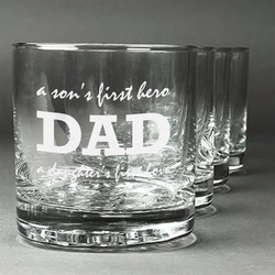 Father's Day Quotes & Sayings Whiskey Glasses (Set of 4) (Personalized)