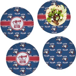 Dawson Band Set of 4 Lunch / Dinner Plates (Glass) (Personalized)