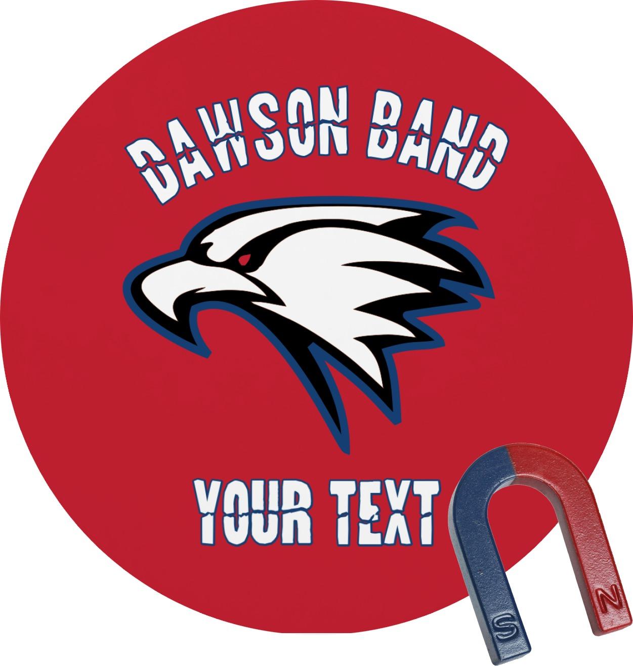 Dawson eagles band logo round magnet personalized