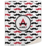 Mustache Print Sherpa Throw Blanket (Personalized)