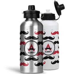 Mustache Print Water Bottles- Aluminum (Personalized)