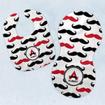 Mustache Print Baby Bib & Burp Set w/ Name and Initial