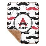 Mustache Print Sherpa Baby Blanket 30
