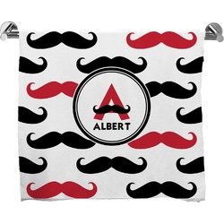 Mustache Print Full Print Bath Towel (Personalized)