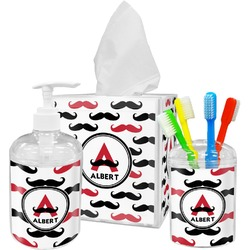 Mustache Print Bathroom Accessories Set (Personalized)