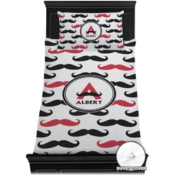 Mustache Print Duvet Cover Set - Twin (Personalized)