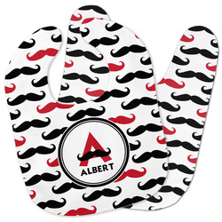 Mustache Print Baby Bib w/ Name and Initial