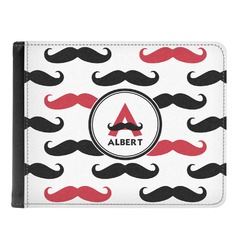 Mustache Print Genuine Leather Men's Bi-fold Wallet (Personalized)
