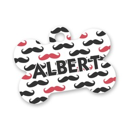 Mustache Print Bone Shaped Dog Tag (Personalized)