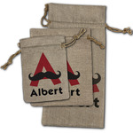 Mustache Print Burlap Gift Bags (Personalized)
