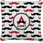 Mustache Print Faux-Linen Throw Pillow (Personalized)