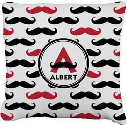 Mustache Print Faux-Linen Throw Pillow (Personalized)