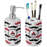 Mustache Print Bathroom Accessories Set (Ceramic) (Personalized)