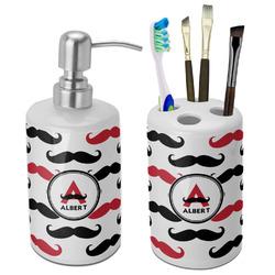 Mustache Print Ceramic Bathroom Accessories Set (Personalized)