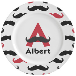 Mustache Print Ceramic Dinner Plates (Set of 4) (Personalized)
