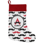 Mustache Print Holiday Stocking w/ Name and Initial