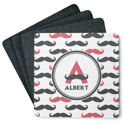 Mustache Print 4 Square Coasters - Rubber Backed (Personalized)