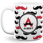 Mustache Print 11 Oz Coffee Mug - White (Personalized)