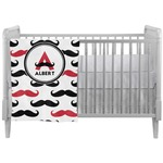 Mustache Print Crib Comforter / Quilt (Personalized)