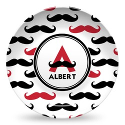 Mustache Print Microwave Safe Plastic Plate - Composite Polymer (Personalized)